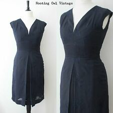 1950S ORIGINAL VINTAGE DRESS NAVY EMBROIDERED WIGGLE SHIFT EVENING COCKTAIL 10