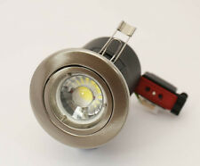 BRUSHED CHROME FIRE RATED  GU10 DOWN LIGHT WITH DIMMERABLE  LED 5 WATTBULB £4.99