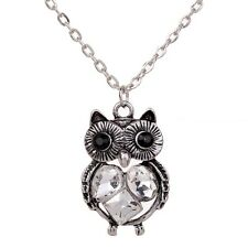 Cute Tibetan Silver Jewelry Owl Carved Crystal Women Long Chain Necklace Pendant