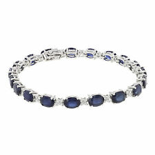 18K White Gold 13 CT Sapphire 0.76 CTTW Diamonds Approx Ladies Tennis Bracelet