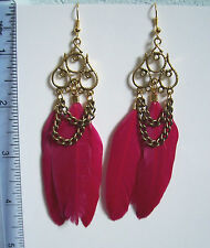 Sexy pink chain ethnic feather clip-on earrings
