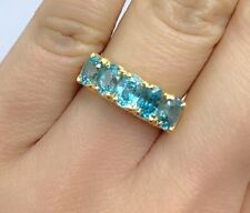 14k Solid Yellow Gold One Row Band Ring, Natural Blue Zircon 3.5TCW. Sz 7