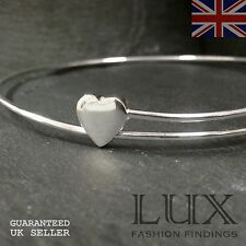 "8"" Adjustable Elegant Sweetheart Heart Modern Bangle Sterling Silver"