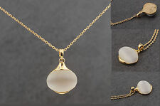 "Quality Moonstone Necklace Gold Chain 15.5"" Chain with Extention"