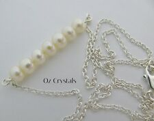 Freshwater Pearl Bar Necklace Solid .925 Sterling Silver