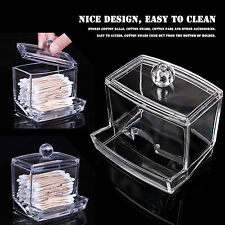 Clear Acrylic Cotton Swab Pad Cosmetic Organizer Makeup Storage Case Holder Box