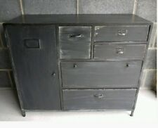 Vintage Industrial Black Sideboard Cabinet & Retro Storage Draws Urban