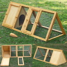 Wooden Outdoor Triangle Rabbit Bunny Hutch And Run Guinea Pig Ferret Cage Coop