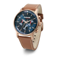 "Lambretta ""Imola Rosegold"" Chronograph Quartz Steel Leather Blue Men's Watch"