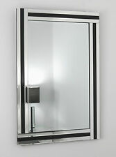 "Fiorina Black Glass Framed Rectangle Bevelled Wall Mirror 40"" x 28"" VL"