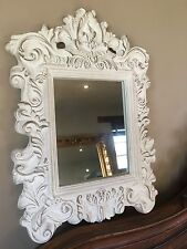 Distressed White Shabby chic Ornate French Rococo Wall Mirror