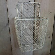 Country Cream Rustic Deep Wire Wall Storage Basket Kitchen Bathroom Shed