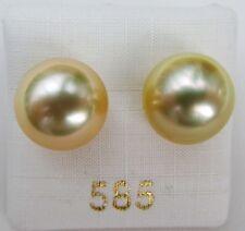 Südseeperlen Ohrstecker 12,5 mm AAA Naturgold 3527 Perlenohrringe Ohrschmuck