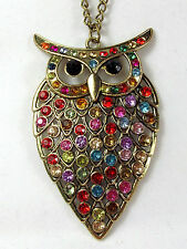 "Necklace Pendant Long Chain 28"" Rhinestone Crystal Owl Charms Bronze"