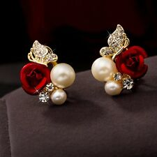 Fashion 18K Yellow Gold Filled Womens Red Rose Ear Stud Butterfly Pearl Earrings