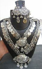 Long Coin Necklace Vintage Silver Tribal Ethnic Boho Costume Fashion Jewellery