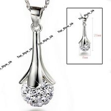Silver Disco Crystal Diamond Round Love Ball Necklace Xmas Presents for Her C3