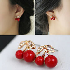 Cute Womens Red Cherry Ear Stud Leaf Fruit Earrings Jewelry Gold Plated Party