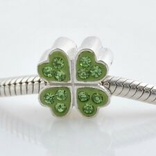 Green 4 Leaf CLOVER-Luck- Austrian crystal&Solid 925 Sterling silver charm bead