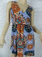 MINKPINK orange blue retro floral print dress size S EUC