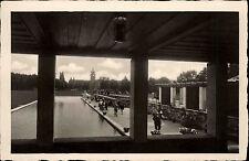 Wiesbaden am Rhein s/w AK ~1940 Herbert Anlage Durchblick zum Bahnhof ungelaufen