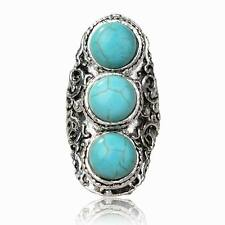 Retro Tibetan Silver Beads Turquoise Statement Cocktail Adjustable Finger Ring