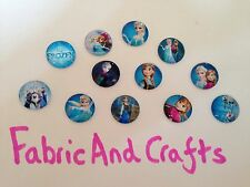 8 DISNEY FROZEN CABOCHONS 20MM- RESIN/FLATBACK/CRAFT/JEWEL GEMS-ELSA-OLAF-NEW