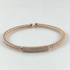 "925 Sterling Silver Womens Mesh Bangle Rose Gold Ladies Bracelet CZ Stones 7"""