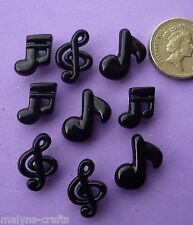 9 MUSICAL NOTES Black Plastic Craft Themed Buttons Music School Dance Band Piano