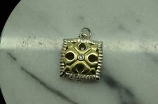 14K YELLOW GOLD & 925 STERLING SILVER DIAMOND SQUARE PENANT CHARM LOTS OF DETAIL