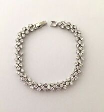 18ct White Gold GP Tennis Bracelet created Diamonds Bridal Bridesmaid Stunning!