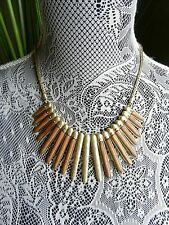 Lucky Brand Gold-Tone Wood Statement Necklace MSRP $69