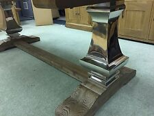 VERY LARGE HUGE - STEEL BULBOUS LEG - INDUSTRIAL CHIC DINING TABLE SITS 8-10