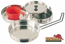 FREEPOST Stainless Steel 5 Piece Mess Kit  Perfect for your Bush Cooking Needs
