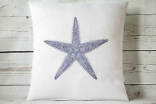 "Indigo coastal Starfish - 16"" cushion cover nautical shabby vintage chic"