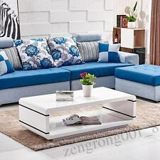 High Gloss White Coffee Table Hollow Modern Design Living Room MDF Furniture