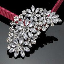Large Silver Flower Bridal Brooch Pin Diamante Rhinestone Crystal Wedding Party