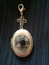 Jewels By Parklane Necklace Pendant Silver Locket With Amethyst Stone NWOT