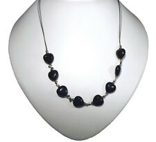 """Very nice Necklace Black Onyx Hearts & Kisses 19"""" Long"""