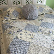 Rose Blue King Size Shabby Chic Vintage Florals quilted Bedcover Coverlet Set