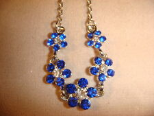 forget me not necklace 5 gorgeous blue flowers Austrian crystal 18 in chain