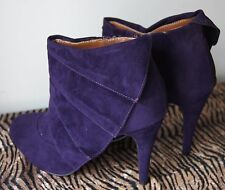 Timeless Galore Purple High Heeled Ankle Boot In Faux Suede UK 3
