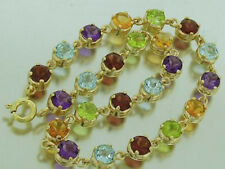 9ct Solid Gold NATURAL Multi Gem Line Bracelet Garnet,Topaz, Amethyst, Citrine