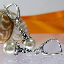 A238 Ohrringe mit Swarovski Elements Perlen 925 Silber Schmuck Jugendstill Neu