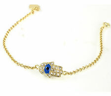 18k Gold Filled Swarovski Crystal Hamsa Hand with Blue Evil Eye Dainty Bracelet