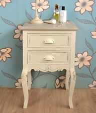 Shabby Chic Cream 2 Drawer Bedside Table, Ivory bedside cabinet, ASSEMBLED
