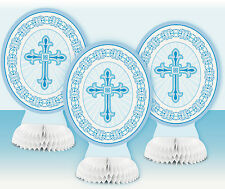 """CHRISTENING DECORATIONS 3PK BLUE CROSS 8"""" HONEYCOMB RELIGIOUS TABLE DECORATIONS"""
