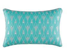 Kas Nova teal cushion cover 35cmx 55cm rectangular kas Embroidery on cotton sale