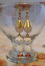 EARRINGS, WHITE ENAMEL CAT, DRAGON VEIN AGATE BEAD, GOLD PLATED EARWIRES - 0012