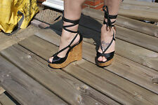 Stunning Strappy Wedge Heels by Dune London Black Satin rrp £129 size 38/ UK 5